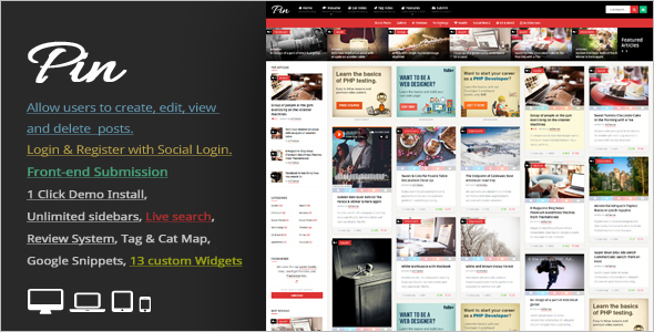 Vintage Pinboard WordPress Template