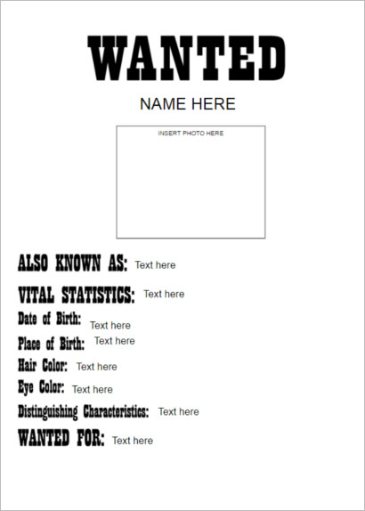 Wanted Poster Template document