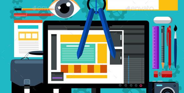 Web Design and Development Flat Concept Banner
