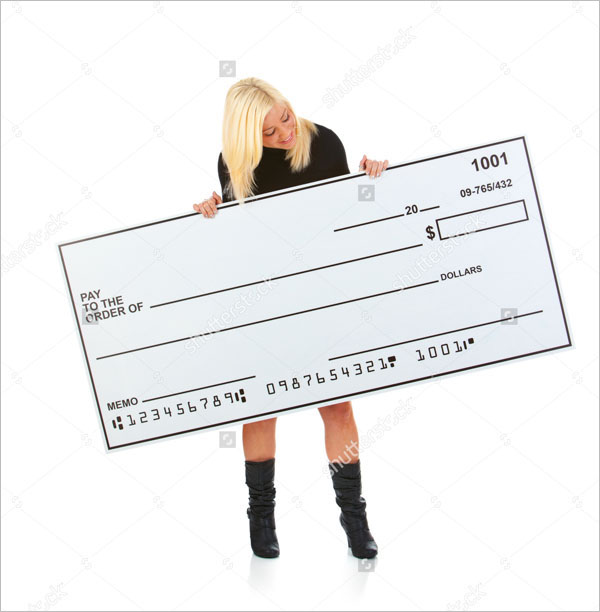 Woman In Black Dress Holding Up Large Blank Check