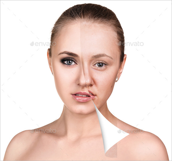 Face of beautiful woman before and after retouch over white background