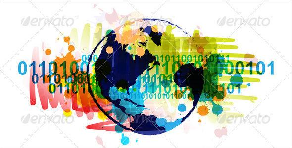 digital globe banner with art background design