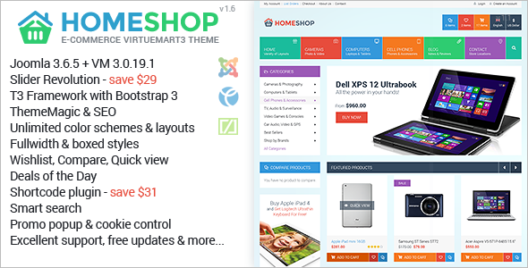 Homeshop Multipurpose VirtueMart Theme