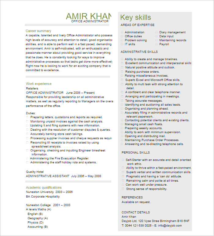 Administration Manager Resume Template