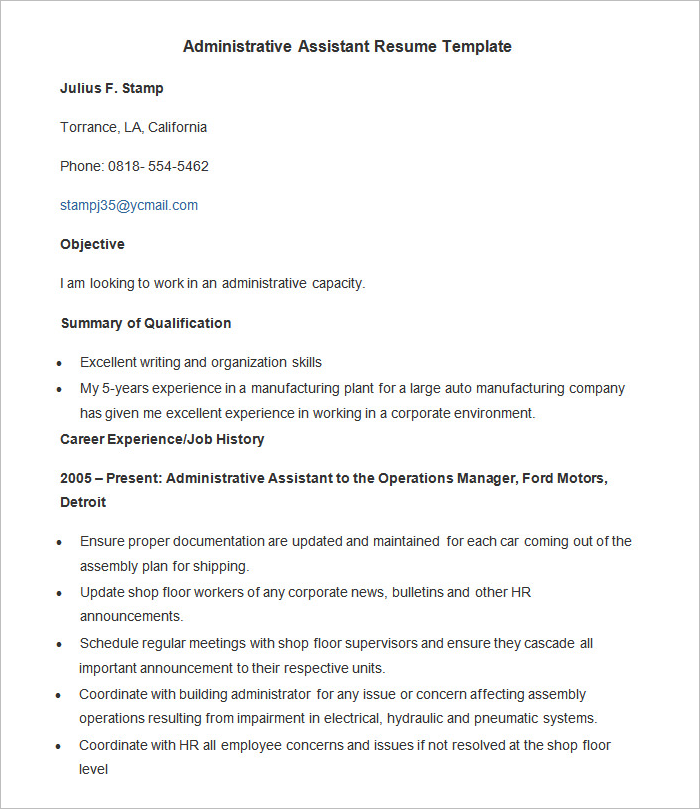 Administration Resume Model Template