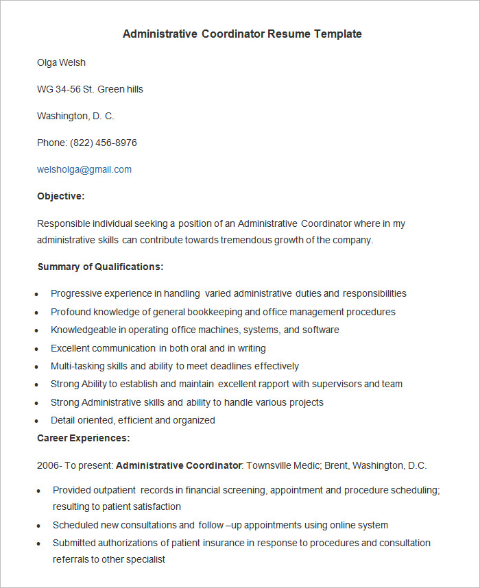 Administration Assistant Resume Templates - CreativeTemplate ...