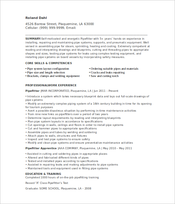 apprentice pipefitter resume template