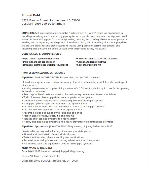 Apprentice Pipefitter Resume Template