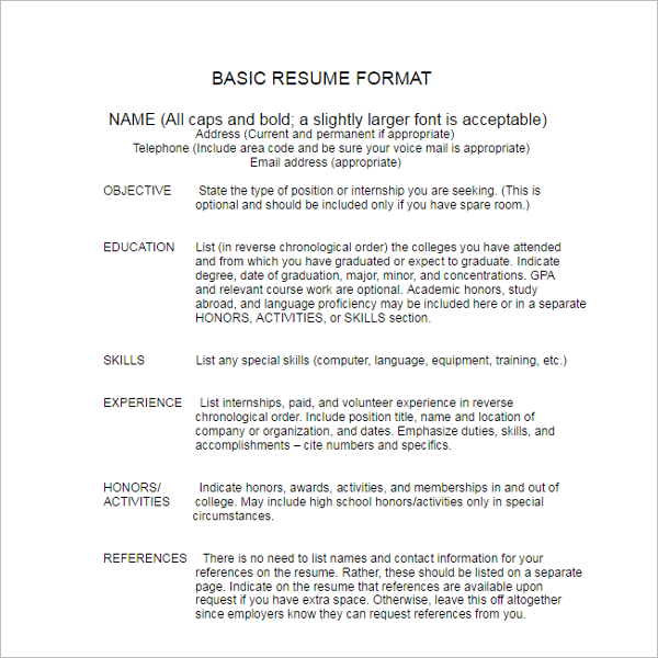 Basic Resume Format Example Template