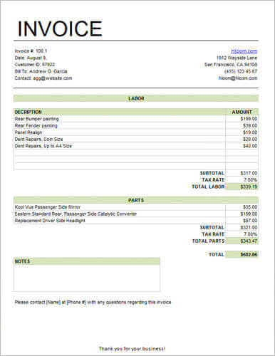 Basic-Service-Invoice-for-Labor-and-Parts-with-Tax