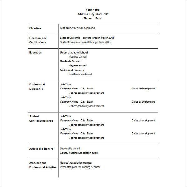 Best Ms Office Nursing Resume CV Template
