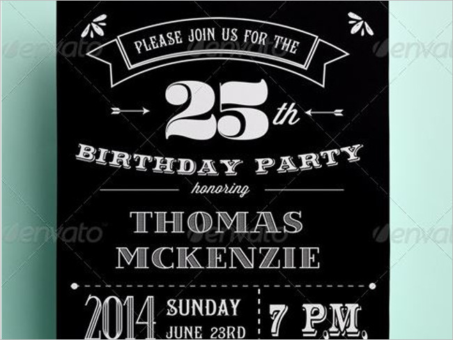 Black and White Birthday Invitation Card