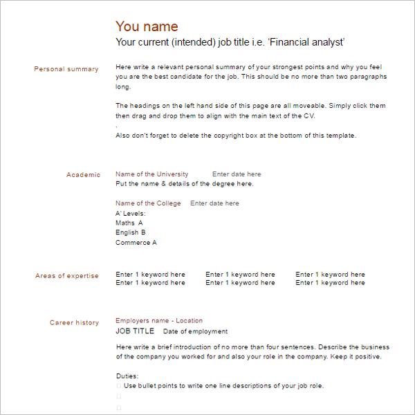 Blank CV Resume Example Template