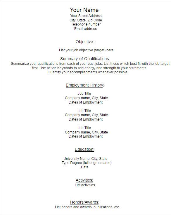 Blank Resume Model Template