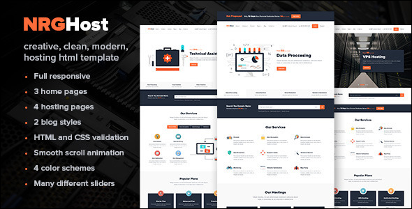 Bootstrap Responsive Flat hosting website template