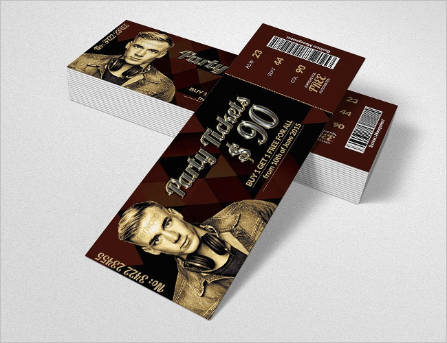Bootstrap party Ticket Template