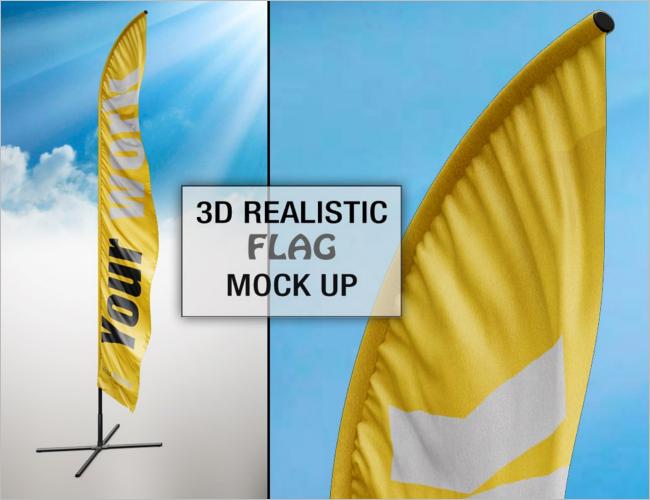 Branding Flag Mockup PSD