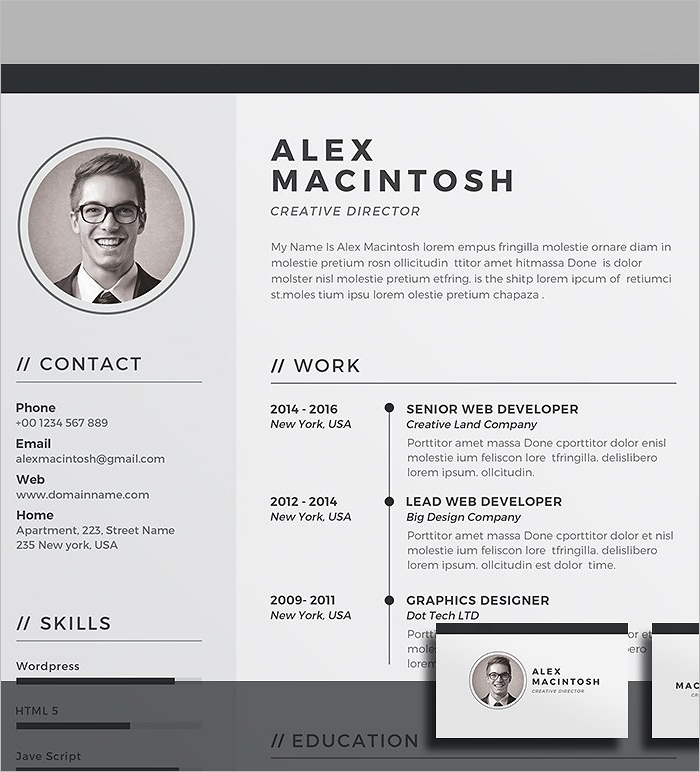 Business Resume Design Template