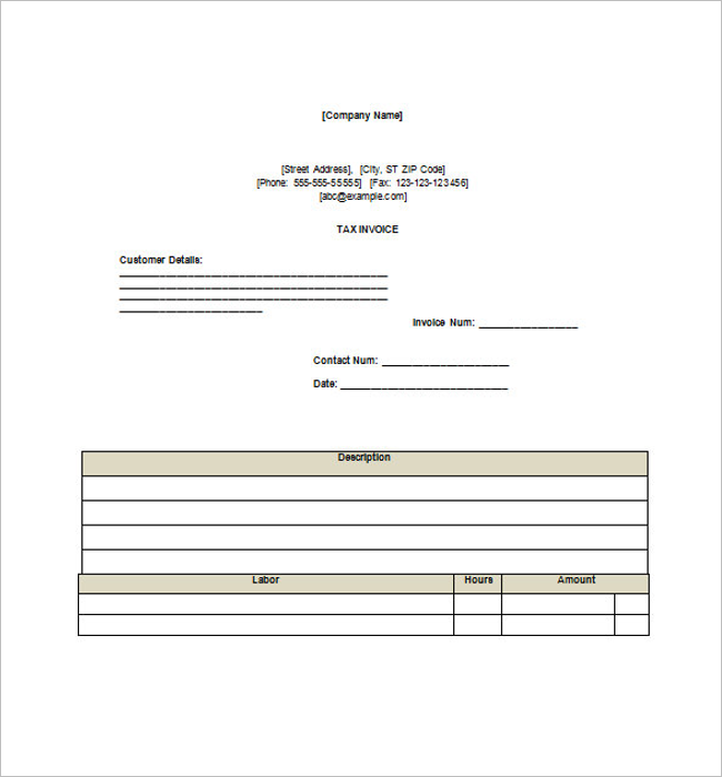 Business Tax Invoice Template