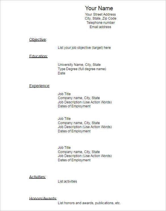 Chronological Blank Resume Template