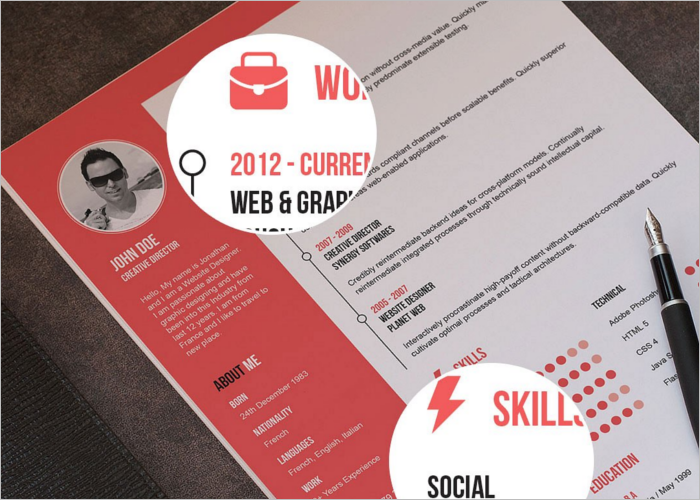 Clean Flat Resume Template Format