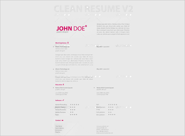 Clean Resume Word Form Template
