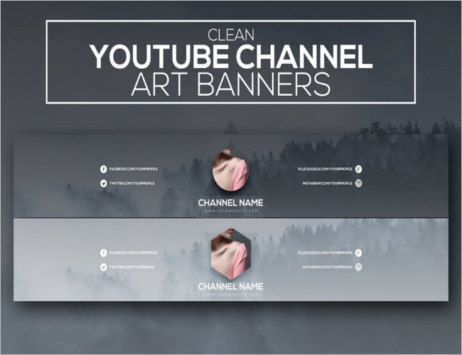 Clean Youtube Channel Banners Template