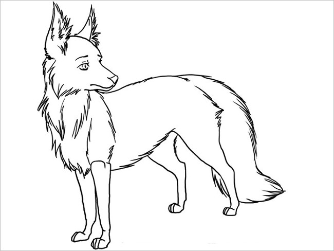 Coloring Page Fox Template Design