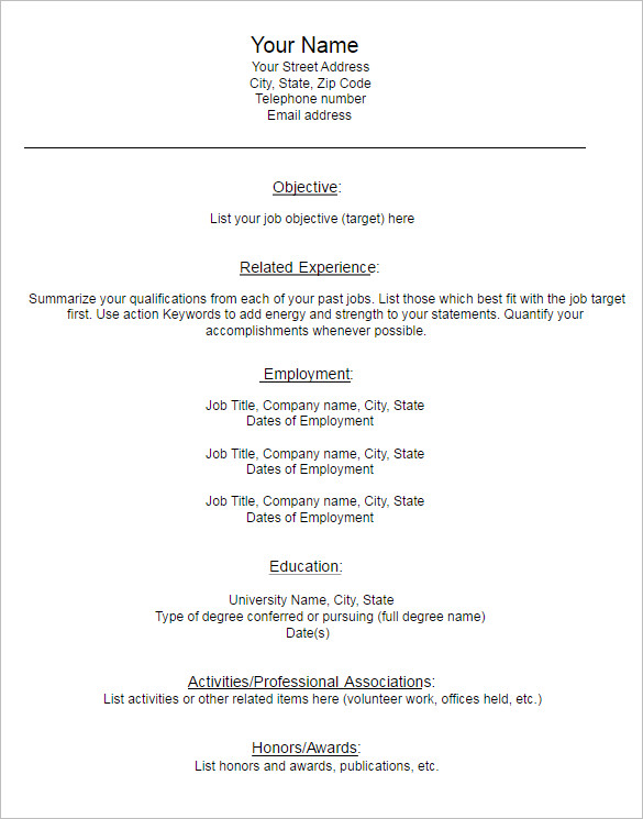 combination blank resume format - Empty Resume Format