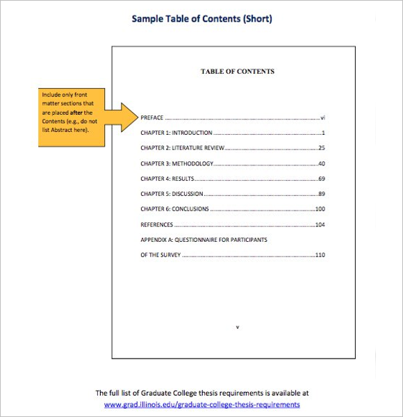 Cool Table Of Content Template