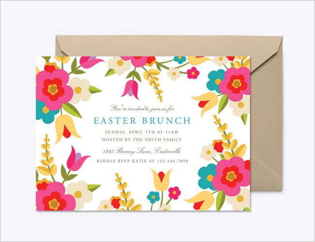 Country Flowers Easter Invitation Template