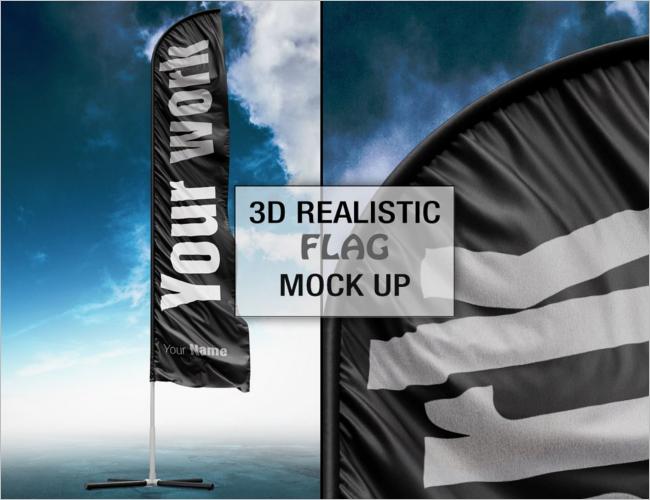 Creative Flag Mockup PSD