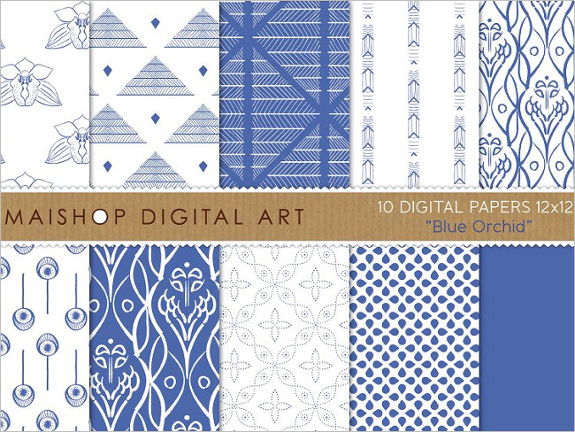 Digital Plain Papers Blue Orchid Design