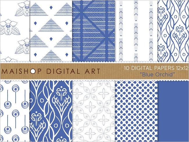Digital Plain Papers Blue Orchid Design