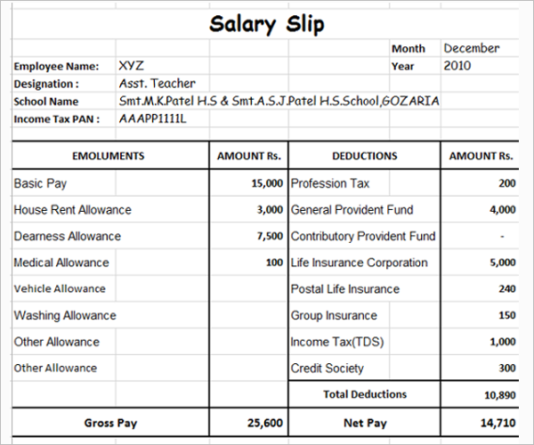 Doc683472 Employee Salary Slip Format Download Free Download – Free Salary Slip Template