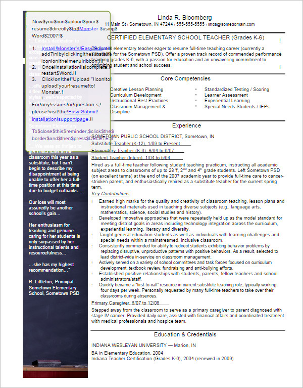 29+ Free Teacher Resume Templates Pdf, Word Documents | Creative