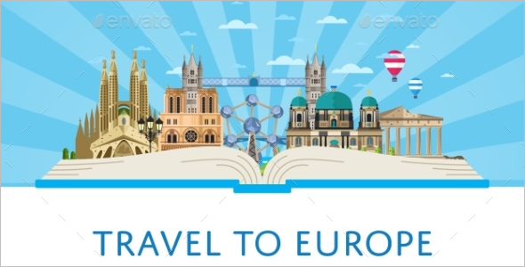 Europe Poster With Famous Attractions