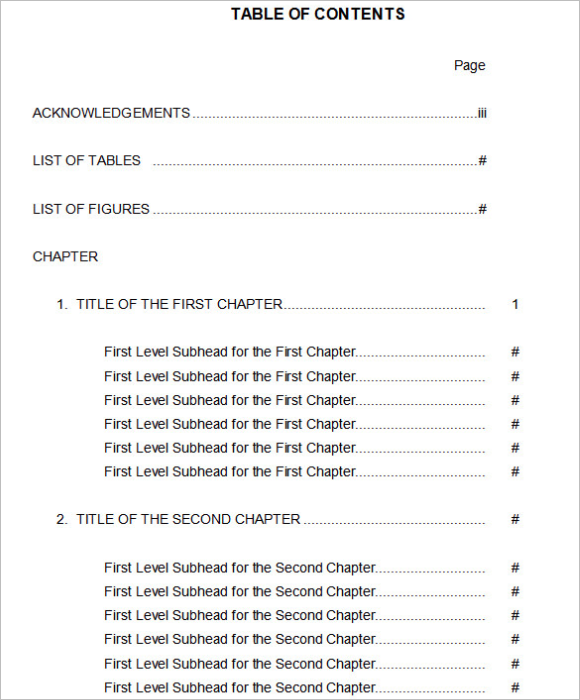 Example Of Table Of Content Form