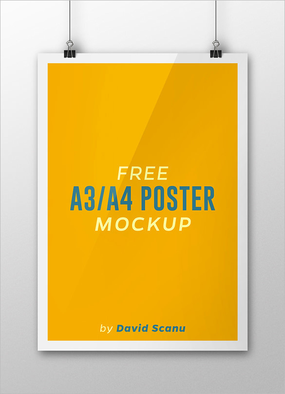 Free A3 And A4 Poster Mockup Creative Template
