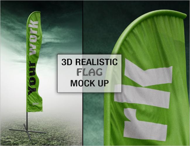 Fabric Flag Mockup PSD