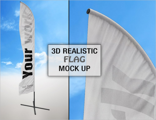 Flag Logo Mockup PSD