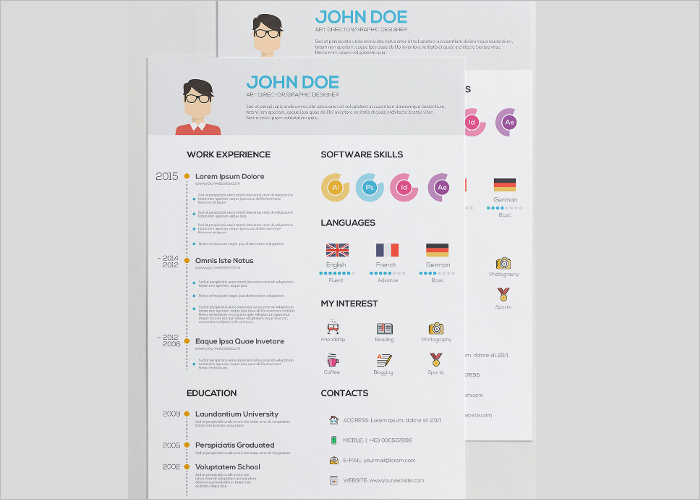 Flat Free Resume Template Form