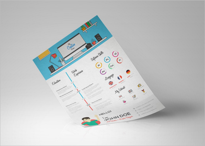 Flat Resume Design Template