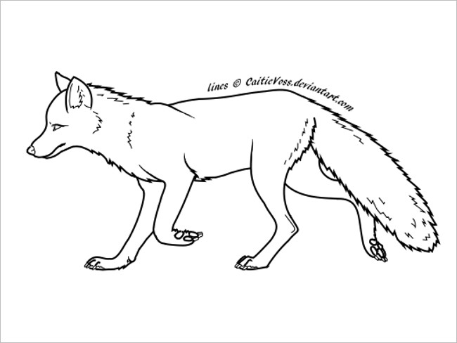 Fox Template Coloring Page Design