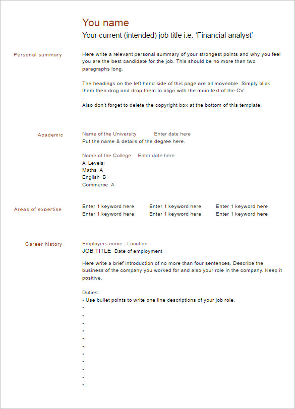 Free Blank Resume Word Template