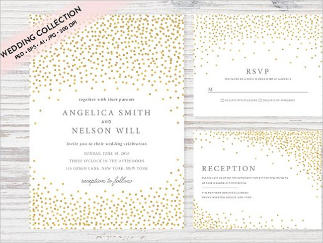 Gold Colour Wedding Invitation Set