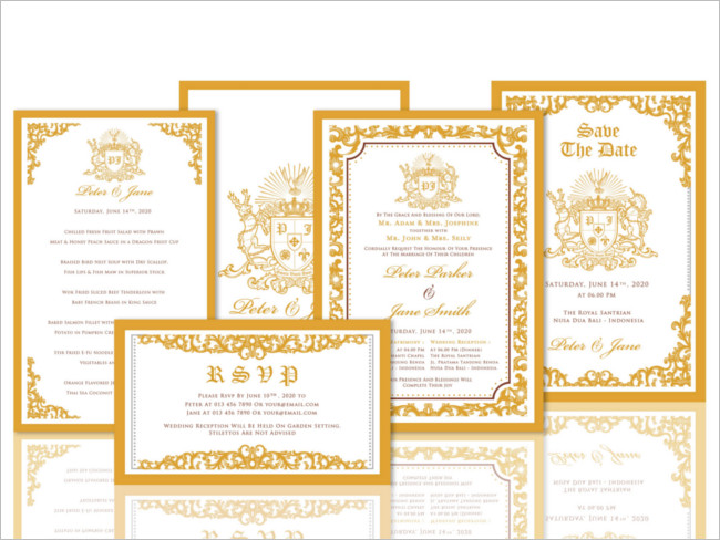 Golden Wedding Invitation Suites With Design