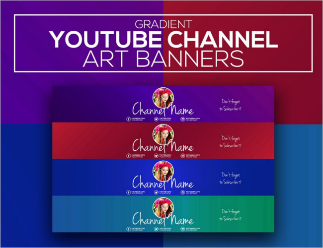 Gradient Youtube Channel Banners Template