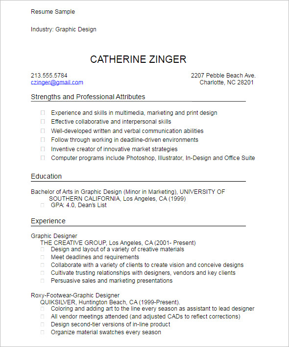 Graphic Student Resume Template