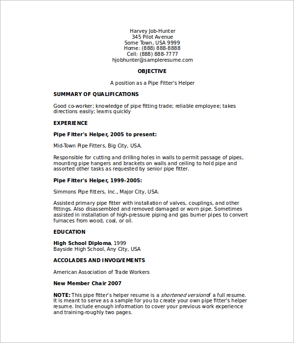 Helper Pipefitter Resume Template